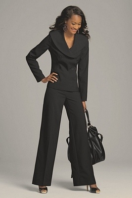 Simple Plus Size S 3XL Women Wedding Black Pants Suits Work Wear Single
