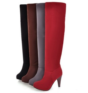 Women-s-Fashion-Faux-Suede-Platform-High-Heels-Knee-Long-Boots-Round-Toe-Shoes-Black-Brown