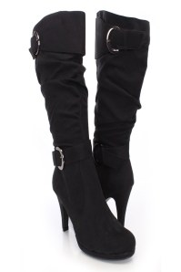 knee high suede buckle strap boot