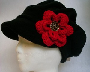 velvet hat red flower