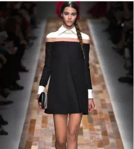 2014-Fashion-t-shirt-one-piece-dress-black-and-white-color-block-decoration-OL-runway-dress