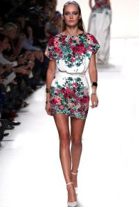 2014-spring-summer-autumn-new-runway-designer-fashion-straight-floral-print-belt-dress-short-sleeve-white