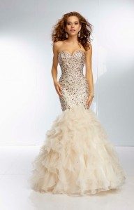 Champagne Dazzling Beaded Mermaid Style Long Prom Dress