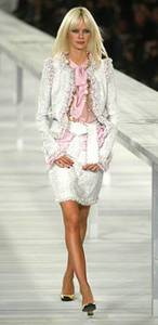 Cream of the catwalk- Supermodel Dewi Driegen wears pale pink boucle suit, £2,835 by Chanel (020 7493 5040) -br---br-Picture- Cavan Pawson
