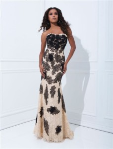 Elegant-Sheath-Strapless-Long-Champagne-Black-Lace-Occasion-Prom-Dress