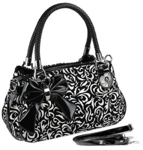 MG-Collection-TWEED-Black-White-Floral-Design-Purse-wBow-Accent-0