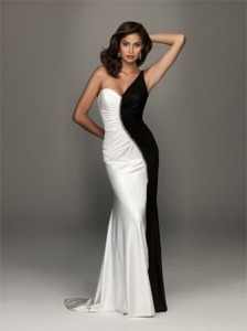 one-shoulder-black-and-white-dress