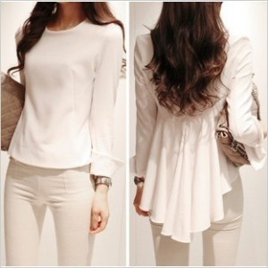 2013-spring-summer-new-fashion-Korean-style-women-chiffon-blouse-white-wild-irregular-hem-fold-waist_jpg_350x350