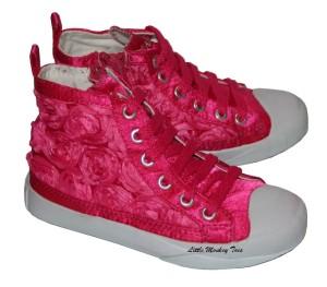 amiana fuschia flower tennis shoes 4in