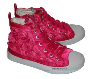 amiana fuschia flower tennis shoes 4in