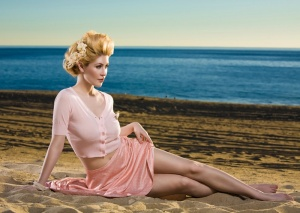 Beautiful-Blonde-ZARZAR-MODELS-Laurie-Mannette-Modeling-In-Southern-California-Beaches-In-Sexy-Pink-Dresses-For-Fashion-Ads-How-To-Get-A-Perfect-Ponytail-Advanced-Techniques