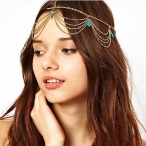 Fashion-Statement-Bohemia-Ethnic-Hair-Jewelry-Gold-Plated-Tassel-Turquoise-Women-Hairband-Free-Shipping