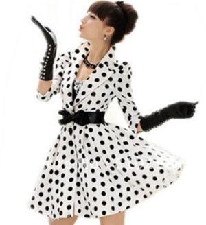 free-shipping-2012-autumn-women-new-fashion-clothing-white-black-polka-dot-half-sleeve-big-skirt