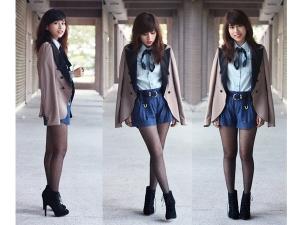 light-wash-denim-work-shirt-blue-denim-high-waisted-shorts-navy-gold-braided-belt-beige-blazer-sheer-dotted-tights-black-lace-up-boots