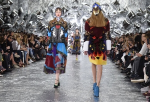 LONDON, ENGLAND - FEBRUARY 21: Models walk the runway at the Mary Katrantzou show during London Fashion Week Autumn/Winter 2016/17 at Central Saint Martins on February 21, 2016 in London, England. (Photo by Stuart C. Wilson/Getty Images)