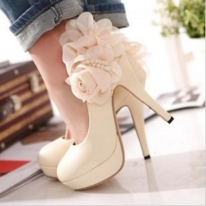 Sweet-pink-rose-platform-flower-platform-round-toe-thin-heels-high-heeled-shoes-the-bride-single