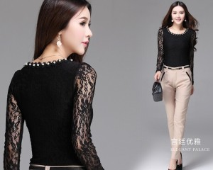 2015-New-Lace-Blouse-for-women-flower-embroidery-sexy-diamonds-vintage-office-work-wear-Woman-Shirt