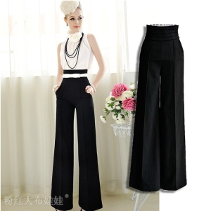 Free-Shipping-summer-elegant-ol-high-waist-trousers-High-Quality-Ladies-Working-Loose-Trousers-Black-S