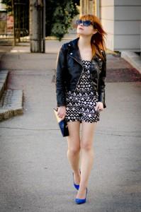 HM-leather-jacket-aztec-black-and-white-jumpsuit-romper-onesie-cobalt-blue-heels-claudine-london-clutch-2-678x1024