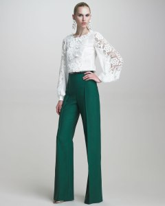 Oscar-de-la-Renta-Blouse-with-Embroidered-Lace-Twill-High-Waisted-Pants