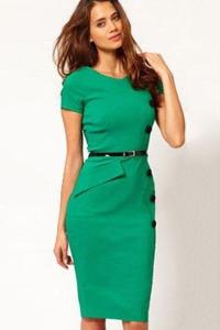 159-Casual-Cap-Sleeves-Button-Belt-Decoration-Green-Midi-Dress