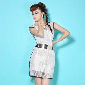 Free-Shipping-womens-original-runway-collision-round-neck-sleeveless-dress-set-of-two-sent-belt-20150350