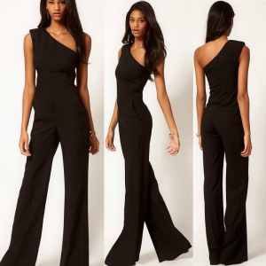 Hot-Sale-Fashion-Black-One-Shoulder-rompers-womens-jumpsuit-2015-Sexy-Slim-One-piece-Flare-Pants