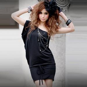 sexy-summer-2012-women-s-Black-slim-hip-tank-dress-one-piece-dress-one-shoulder-dress