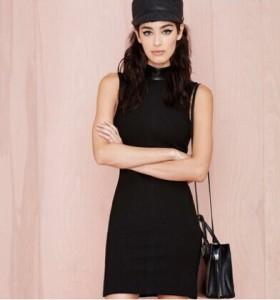 Summer-Autumn-2014-Fashion-Vintage-Sleeveless-Dress-Women-s-Black-Turtleneck-Pencil-Dress-Women-Casual-Dresses
