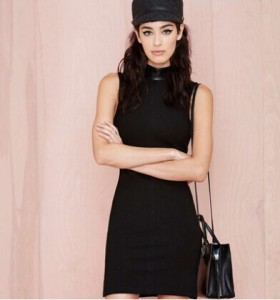 Summer-Autumn-2014-Fashion-Vintage-Sleeveless-Dress-Women-s-Black-Turtleneck-Pencil-Dress-Women-Casual-Dresses