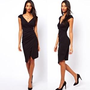 Z-O-Female-Clothes-2015-Womens-Black-Apricot-Color-Block-Short-Sleeve-Split-Modest-Formal-Bodycon