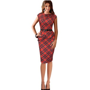 2015-New-Women-s-Clothing-Summer-Work-Elegant-Red-Plaid-Dresses-Business-Casual-Office-Formal-Pencil