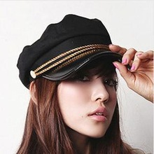 New-Style-Fashion-Navy-Cap-Gold-Color-Chains-Charms-Women-Hat-Flat-top-cap-FT2013077_jpg_220x220