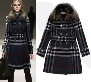 Real-Fur-Collar-70-wool-women-s-trench-coat-long-Classic-Double-Breasted-Plaid-Coats-Runway