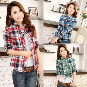 Summer-2014-Women-Fashion-High-Quality-Long-Sleeved-Shirt-Slim-Lapel-Plaid-font-b-Cotton-b