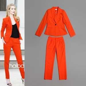 Women-s-Solid-Orange-Color-Casual-Blazers-Matching-Long-Pants-Runway-International-font-b-Designer-b