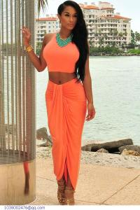 Women-s-Summer-Suits-2015-Casual-White-Black-Orange-Womens-2-Piece-Sleevless-Crop-Top-And