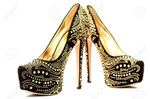 30146560-Fashionable-High-heels-shoes-in-black-and-gold-with-inner-platform-an-rhinestones-Stock-Photo