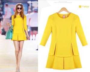 big-size-neon-yellow-red-spring-one-piece-dress-for-office-work-wear-runway-casual-female
