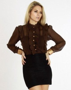 o-satin-cuff-ruffle-detail-brown-sheer-chiffon-blouse-6649