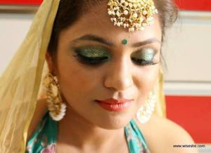 green-glitter-eye-bridal-eye-makeup