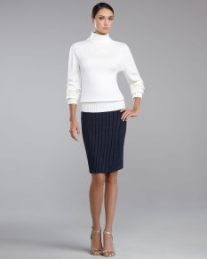 St-John-Collection-Turtleneck-Sweater-Milano-Knit-Pinstriped-Pencil-Skirt