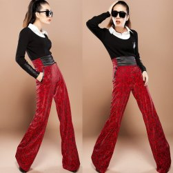 2012-autumn-winter-fashion-new-style-print-slim-womens-red-boot-cut-pants-high-waist-wid