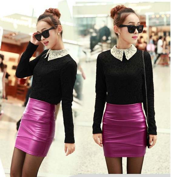 2013-new-large-size-women-s-short-leather-skirt-sexy-skirts-Slim-Stretch-PU-skirt-package