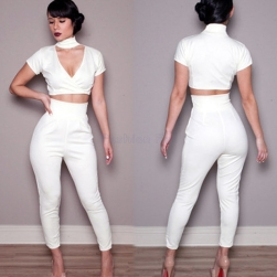 2015-New-High-Waist-Trouser-2-Pieces-Crop-Top-and-Pants-Sexy-White-Women-Clothing-Sets