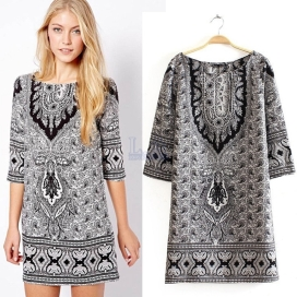 Runway-New-2014-High-Quality-Bohemian-Dress-Women-s-Vintage-Paisley-Floral-Print-Dresses-Short-Winter