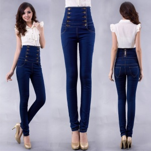 Vintage-fashion-plus-size-women-high-waist-jeans-skinny-pants-jumpsuit-Women-double-breasted-denim