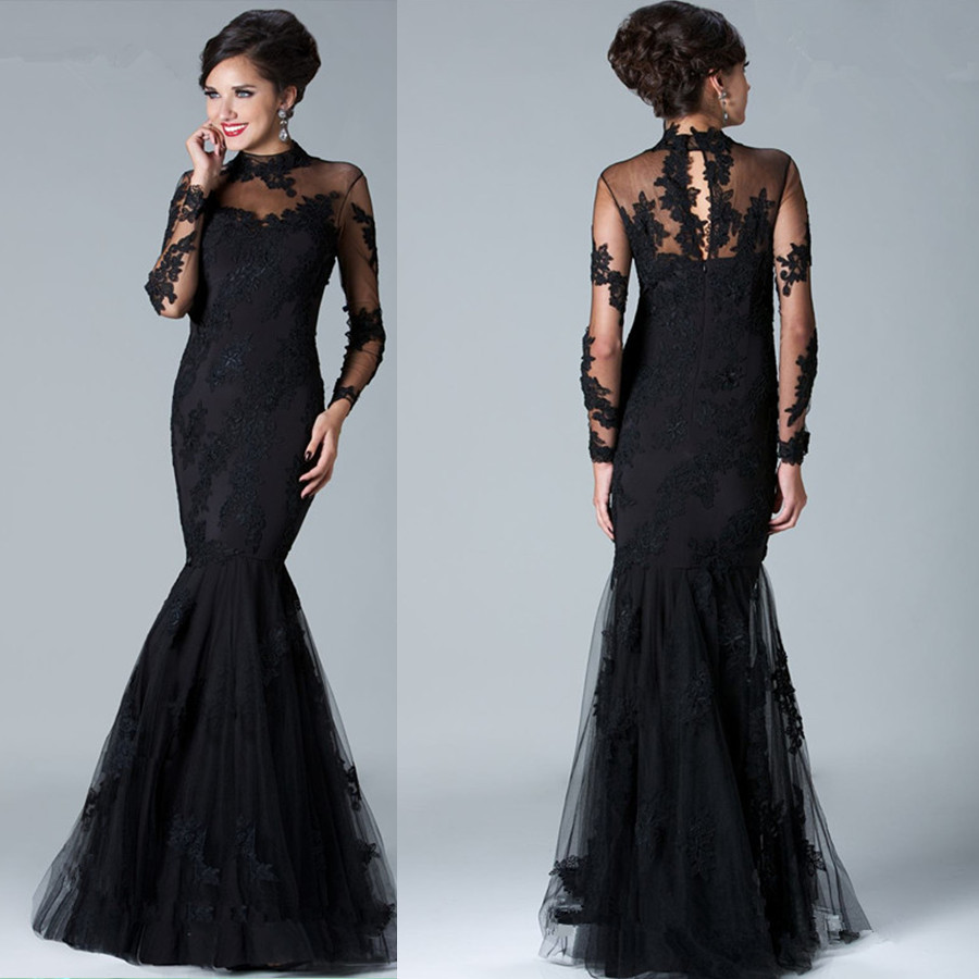 Sexy-elegant-black-evening-dress-Floor-Length-Lace-Mermaid-Long ...