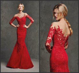 Sheer-Sleeves-Mermaid-Mother-Gown-Red-Lace-Evening-Dress-E201685