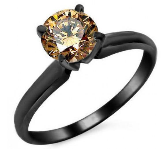 Simple Chocolate Diamond Wedding Rings